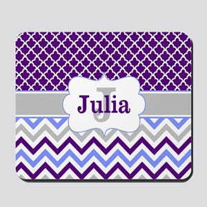 Purple Quatrefoil Chevron Personalized Mousepad